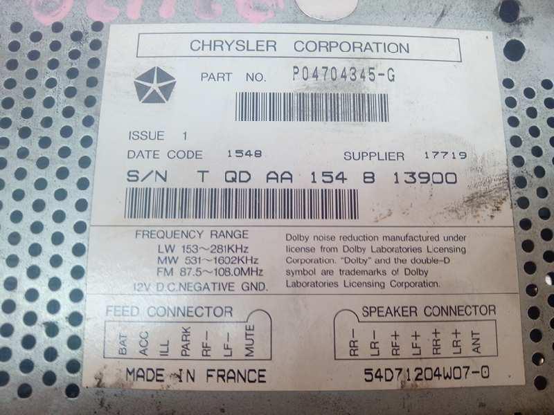 Radio Voiture Audio Autoradio p04704345g Jeep Grand Cherokee Garantie de 36 mois