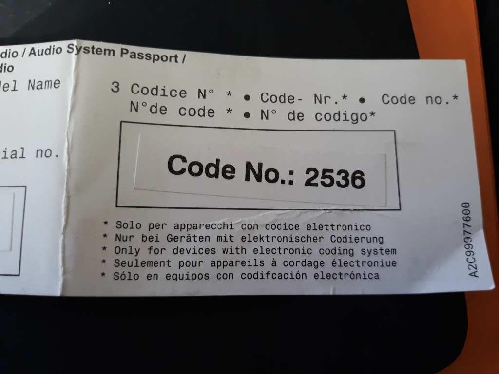 Codice Radio Fiat 500.Radio