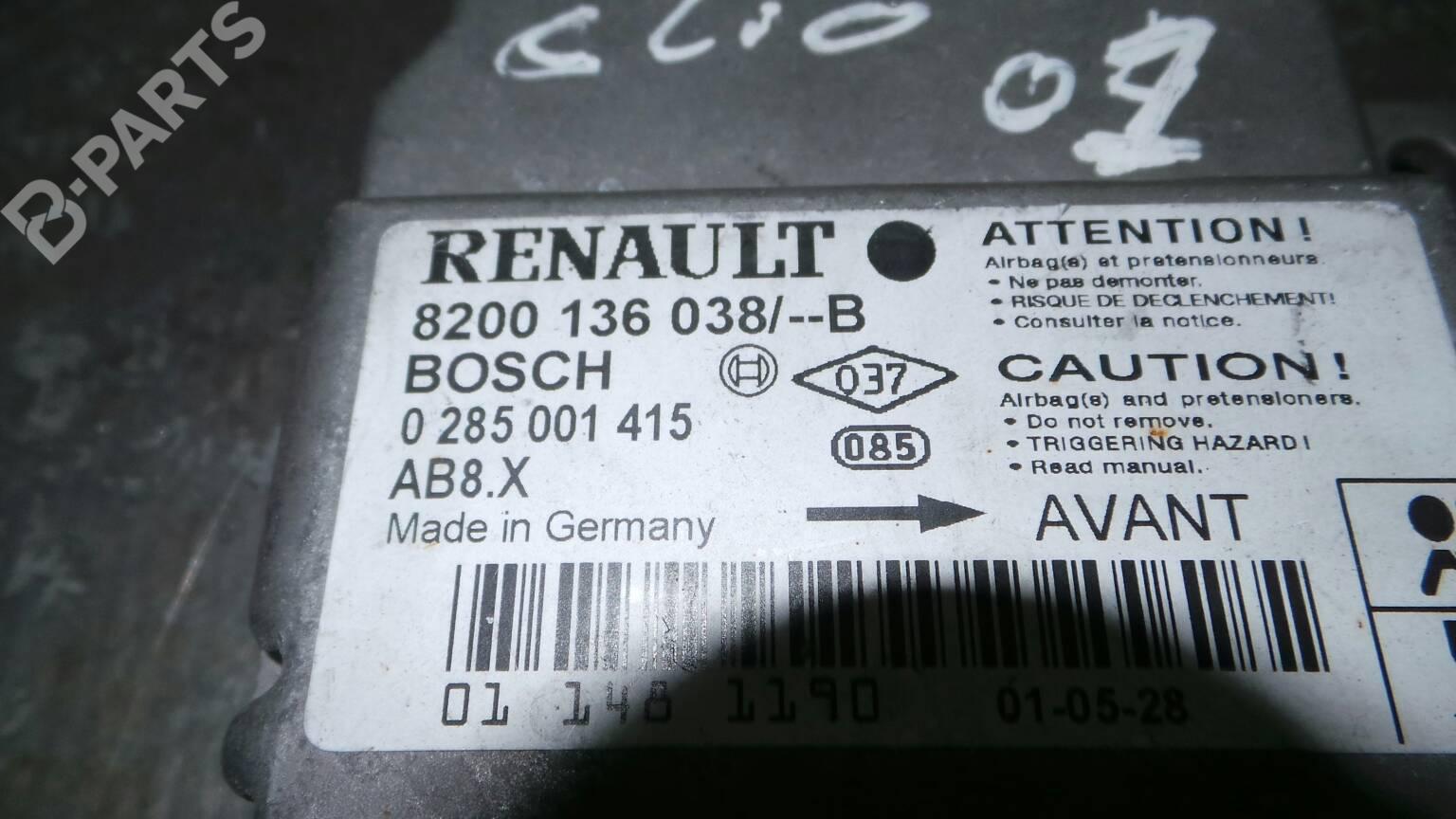 8200136038 0285001415 Centralita de Airbag Renault clio Fase 2