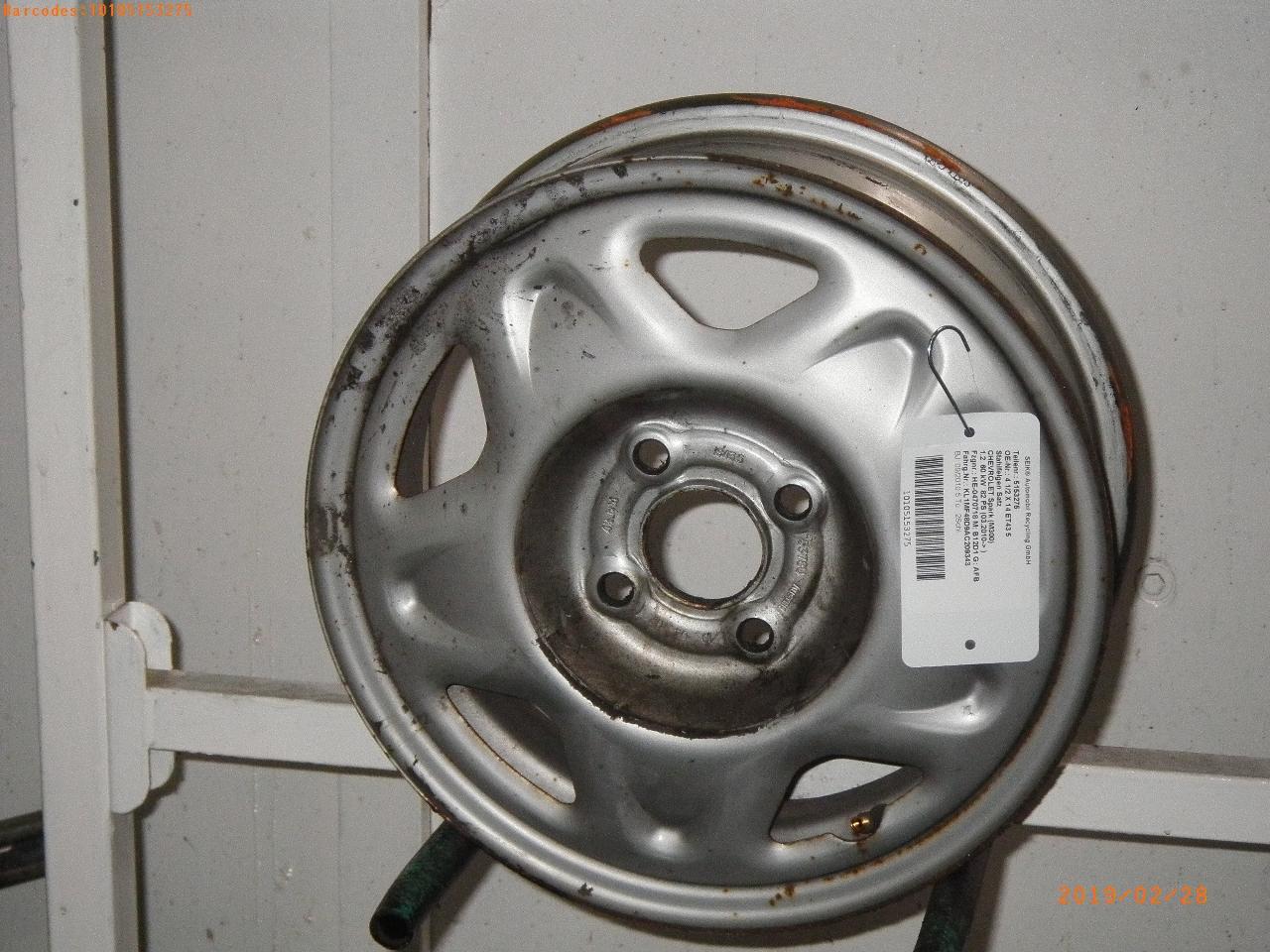 Jante Chevrolet Spark M300 1 2 4 1 2 X 14 Et43 5 Sonstige 1 Satz 4 Stk B Parts
