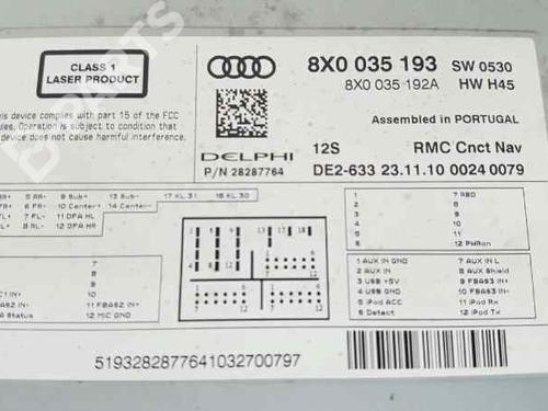 Radio AUDI A1 (8X1, 8XK) 1 6 TDI 8X0035193 | 8X0035193F