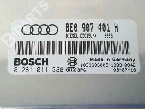 Motorstyringsenhed AUDI A4 Convertible (8H7, B6, 8HE, B7) 2.5 TDI 8E0907401H | 0281011388 | 1039S03005 | 34917151