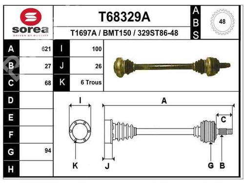 Transmissão trás esquerda BMW 3 (E46) 320 d 33211229591 | B1144 | 32671196