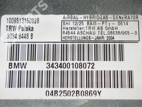 Driver airbag BMW X3 (E83) 2.0 d BMW: 343400108072 35218704